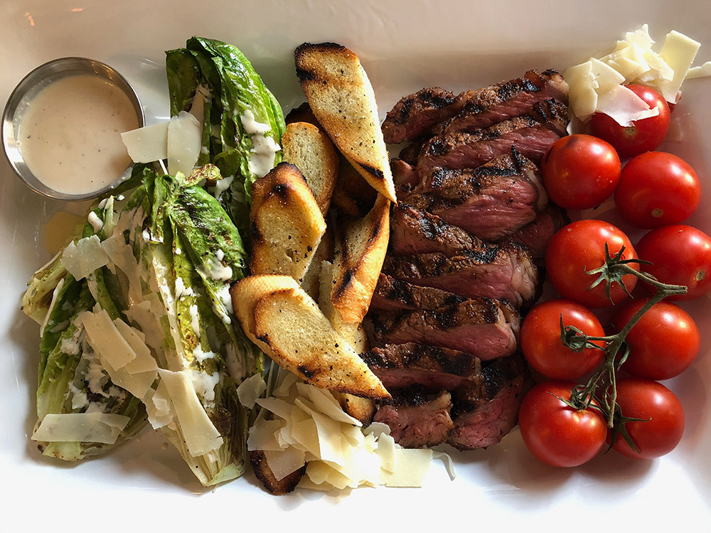Steak and Grilled Romaine Salad